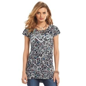 Juicy Couture Leopard Print LOVE Graphic Tunic Tee